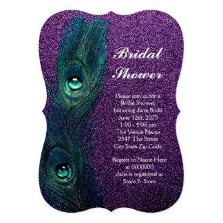 Elegant Teal Blue and Purple Peacock Bridal Shower Card