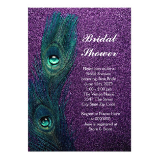 Elegant Teal Blue and Purple Peacock Bridal Shower Personalized Invitations