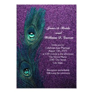 Elegant Teal Blue and Purple Peacock Wedding Card