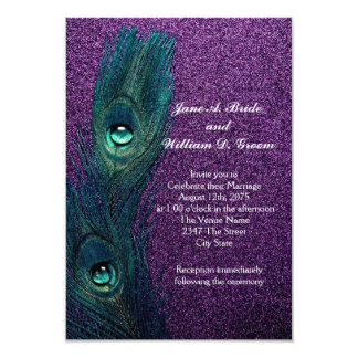 Elegant Teal Blue and Purple Peacock Wedding Personalized Announcements