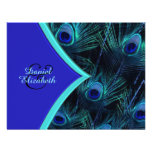 Elegant Teal Blue and Royal Blue Peacock Wedding Personalized Invitation