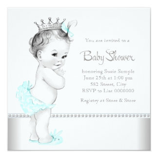 Elegant Teal Blue and Silver Baby Shower Personalized Invitations