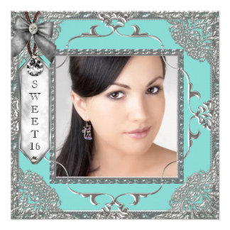Elegant Teal Blue and Silver Photo Sweet 16 Party Personalized Invite