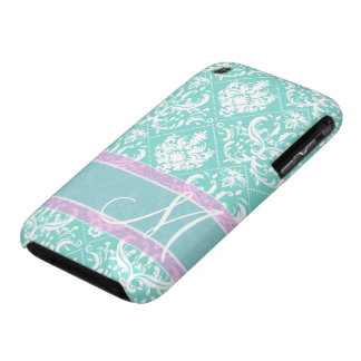 Elegant teal blue and white damask with monogram iPhone 3 case