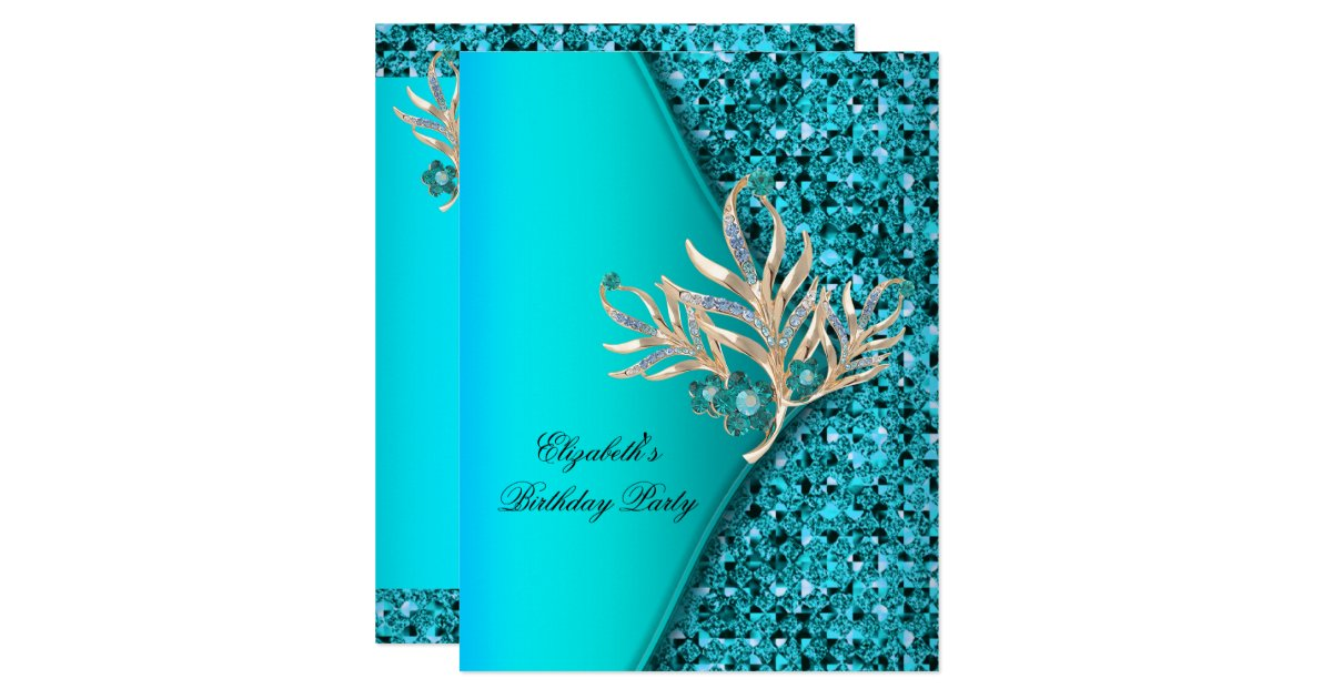 Elegant Teal Blue Aqua Glitter Birthday Party Invitation ...
