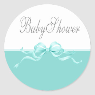 Elegant Teal Blue Baby Shower Stickers