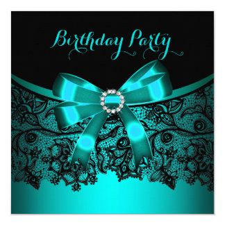 Elegant Teal Blue Bow Black Lace Party 3 Personalized Invitations