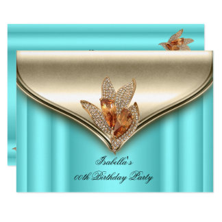 Elegant Teal Blue Bronze Brown Gold Birthday Party Card
