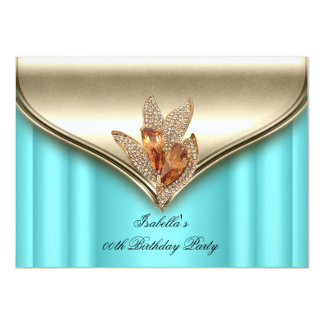 Elegant Teal Blue Bronze Brown Gold Birthday Party Card