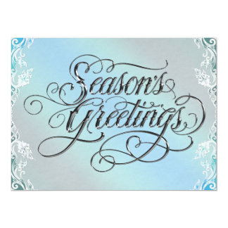 "Elegant Teal Blue Christmas Party Invitation 6.5"" X 8.75"" Invitation Card"