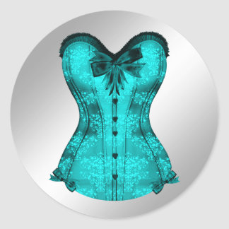 Elegant Teal Blue Corset Stickers