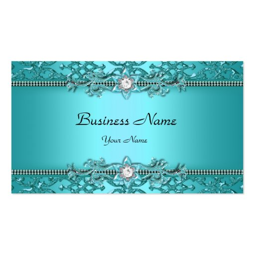 Elegant teal blue damask embossed look business card template for Cheep business cards
