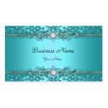 Elegant Teal Blue Damask Embossed Look Double-Sided Standard Business Cards (Pack Of 100)