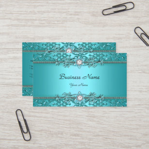 Embossed business cards zazzle elegant teal blue damask embossed look business card colourmoves