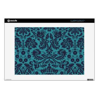 elegant teal blue damask pattern laptop decal