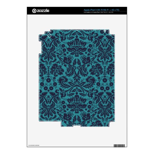 elegant teal blue damask pattern skin for iPad 3