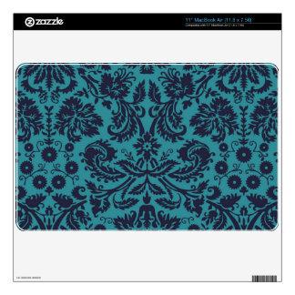 """elegant teal blue damask pattern skins for 11"""" MacBook air"""
