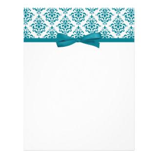 Elegant Teal Blue Damask Ribbon Bow Letterhead