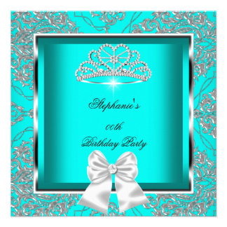 Elegant Teal Blue Damask Silver Birthday Party Invitation