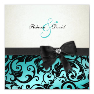 Elegant Teal Blue Damask with diamond bow Card