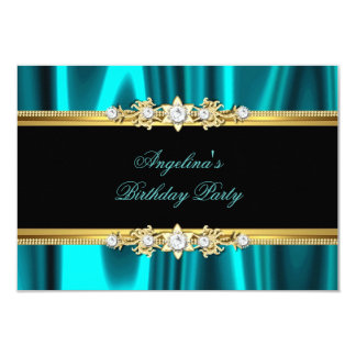 Elegant teal blue Gold Black Birthday Party Card