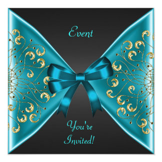 Elegant Teal Blue Gold Bow Black Event Party Personalized Invite