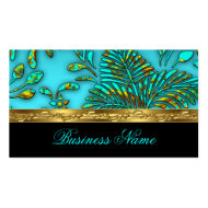 Elegant Teal Blue Gold Damask Tropical Palms Business Card Template
