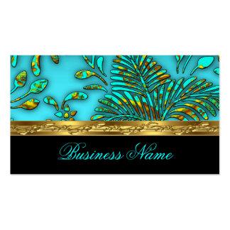 Elegant Teal Blue Gold Damask Tropical Palms Business Card Template