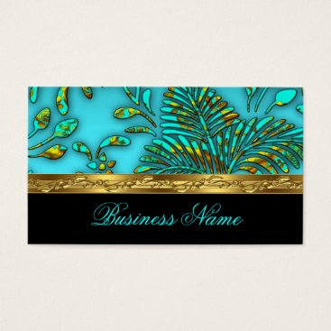 Professional Business Elegant Teal Blue Gold Damask Tropical Palms Business Card