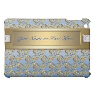 Elegant Teal Blue Gold Swirls Teal  Case For The iPad Mini