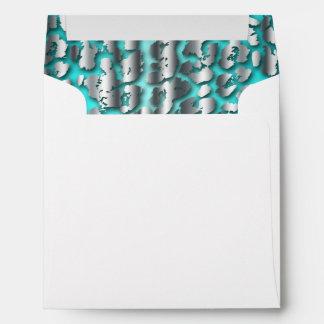 Elegant Teal Blue Leopard Envelope