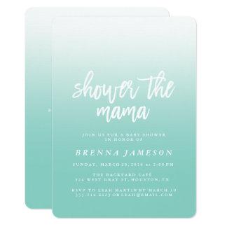 Elegant Teal Blue Ombre Baby Shower Invitation
