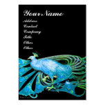 ELEGANT TEAL BLUE PEACOCK FASHION JEWEL IN BLACK LARGE BUSINESS CARDS (Pack OF 100)
