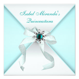 Elegant Teal Blue Quinceanera Party Card