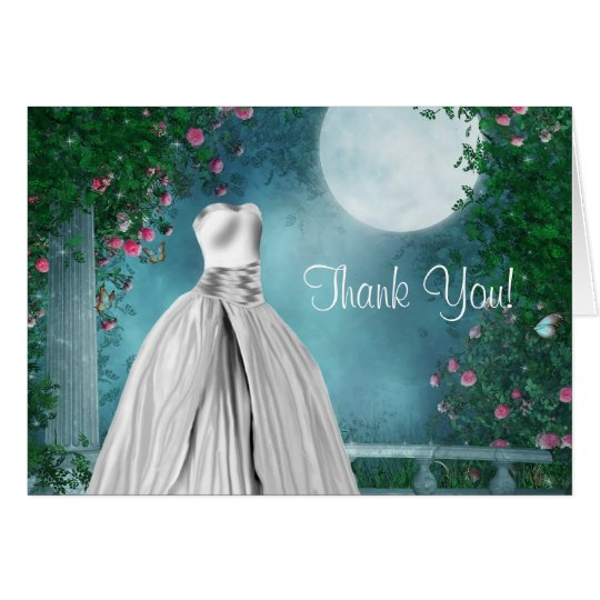 Elegant Teal Blue Quinceanera Thank You Cards Zazzle Com