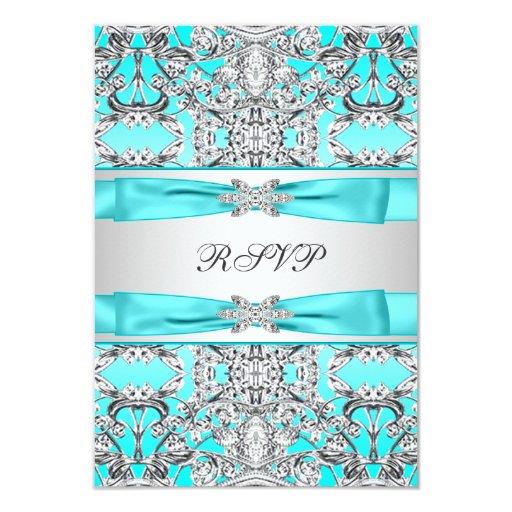 Elegant Teal Blue RSVP 3.5x5 Paper Invitation Card