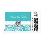 Elegant Teal blue Save the Date Wedding Postage