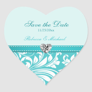 Elegant Teal Blue Save the Date Wedding Stickers