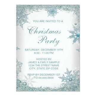 Elegant Teal Blue Snowflake Christmas Party Card