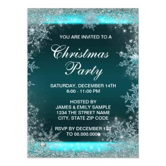 Elegant Teal Blue Snowflake Christmas Party Announcement