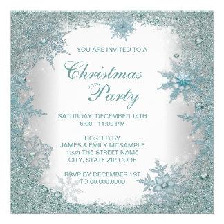 Elegant Teal Blue Snowflake Christmas Party Custom Invite