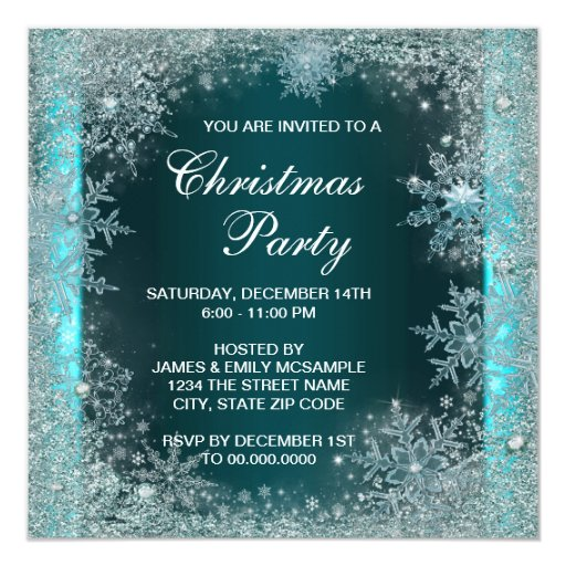 Elegant Teal Blue Snowflake Christmas Party 5.25x5.25 Square Paper Invitation Card