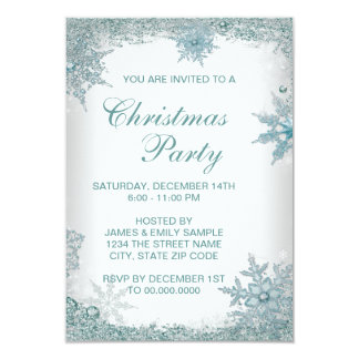 Elegant Teal Blue Snowflake Christmas Party RSVP Personalized Invites