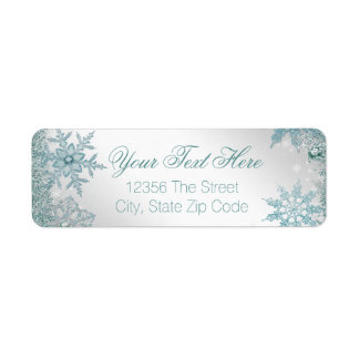 Elegant Teal Blue Snowflake Label