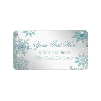 Elegant Teal Blue Snowflake Address Label