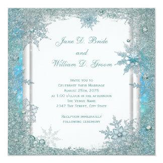 Elegant Teal Blue Snowflake Wedding 5.25x5.25 Square Paper Invitation Card