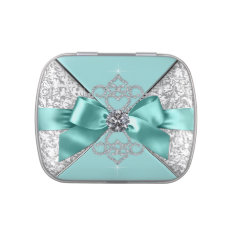 Elegant Teal Blue Sweet 16 Birthday Party Candy Jelly Belly Tin at Zazzle