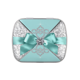 Elegant Teal Blue Sweet 16 Birthday Party Candy Jelly Belly Tin