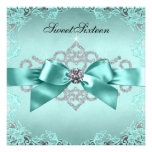 Elegant Teal Blue Sweet 16 Birthday Party Custom Invite