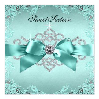 "Elegant Teal Blue Sweet 16 Birthday Party 5.25"" Square Invitation Card"